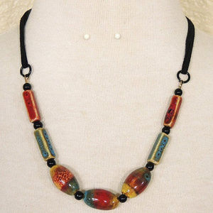 Southwestern Red Black Ceramic & Leather Necklace